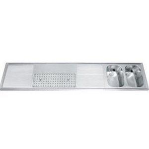 Gamko Buffet Journal RVS + 2 sinks Right | Gamko CO BB2502R | Cross Motif | 500x2500mm | DRESSER