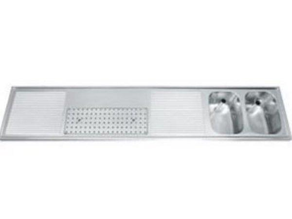 Gamko Buffetblad RVS + 2 Spoelbakken Rechts | Gamko CO-BB2502R | Kruis Motief | 500x2500mm |COMMODE