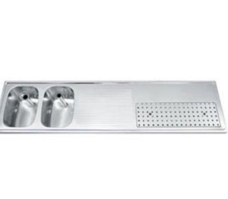 Gamko Buffet Journal RVS + 2 Waschbecken Links | Gamko CO BB2002L | Kreuz-Motiv | 500x2000mm | DRESSER