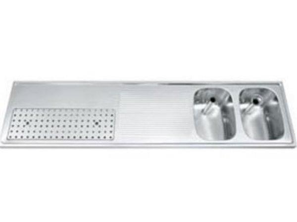 Gamko Buffet Journal RVS + 2 sinks Right | Gamko CO BB2002R | Cross Motif | 500x2000mm | DRESSER
