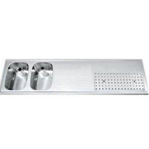 Gamko Buffet Journal RVS + 2 Waschbecken Links | Gamko CO BB1802L | Kreuz-Motiv | 500x1800mm | DRESSER