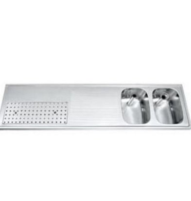Gamko Buffetblad RVS + 2 Spoelbakken Rechts | Gamko CO-BB1802R | Kruis Motief | 500x1800mm | COMMODE