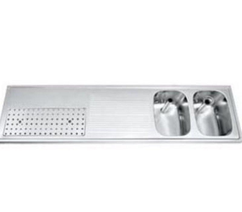 Gamko Buffet Journal RVS + 2 sinks Right | Gamko CO BB1802R | Cross Motif | 500x1800mm | DRESSER