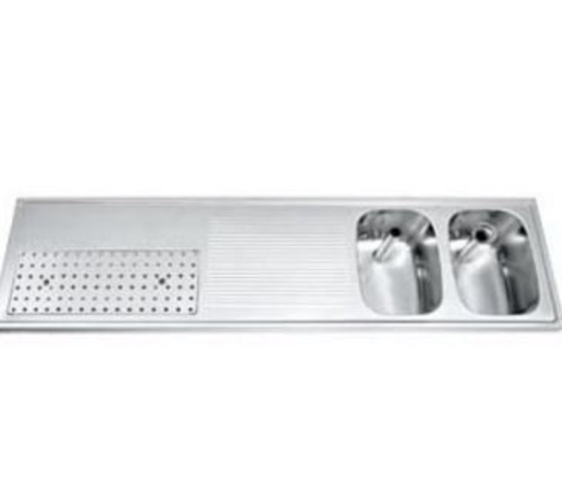 Gamko Buffet Journal RVS + 2 Waschbecken rechts | Gamko CO BB1802R | Kreuz-Motiv | 500x1800mm | DRESSER