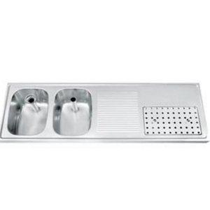 Gamko Buffetblad RVS + 2 Spoelbakken Links | Gamko CO-BB1502L | Kruis Motief | 500x1500mm | COMMODE