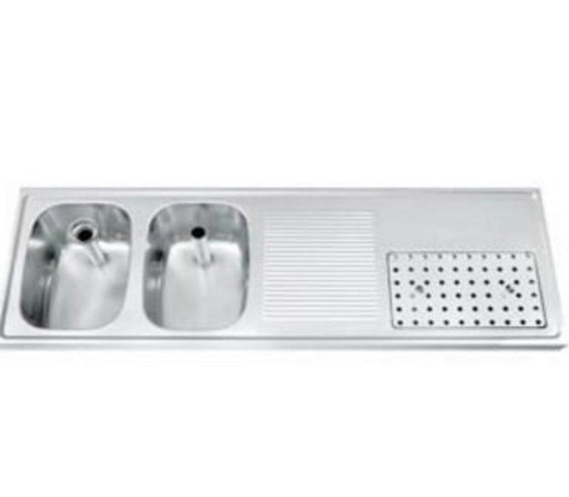 Gamko Buffet Journal RVS + 2 Waschbecken Links | Gamko CO BB1502L | Kreuz-Motiv | 500x1500mm | DRESSER