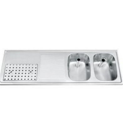 Gamko Buffet Journal RVS + 2 sinks Right | Gamko CO BB1502R | Cross Motif | 500x1500mm | DRESSER