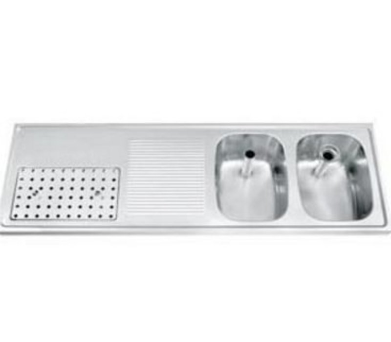 Gamko Buffetblad RVS + 2 Spoelbakken Rechts | Gamko CO-BB1502R | Kruis Motief | 500x1500mm | COMMODE