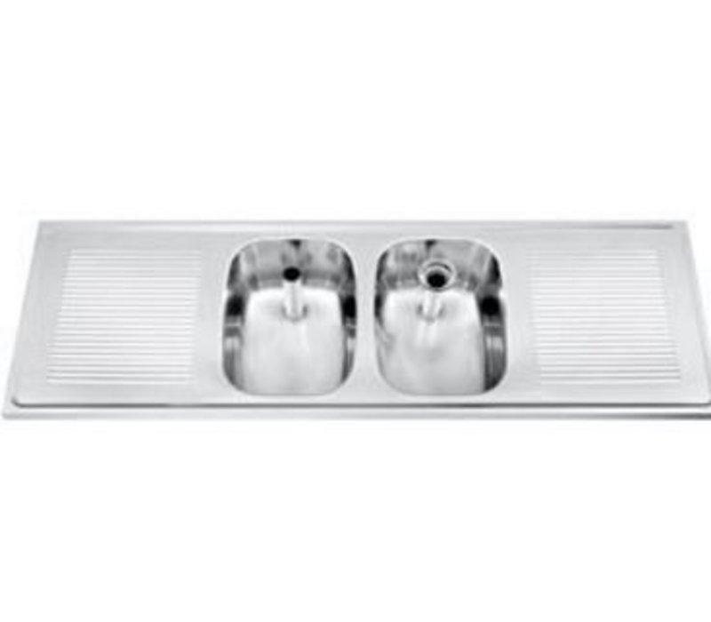 Gamko Buffetblad RVS + 2 Spoelbakken Centraal | Gamko CO-SB1502C | Kruis Motief | 500x1500mm | COMMODE