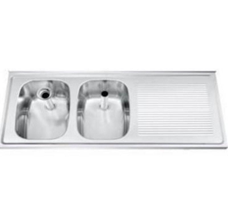 Gamko Buffet Journal RVS + 2 Waschbecken Links | Gamko CO SB1202L | Kreuz-Motiv | 500x1200mm | DRESSER