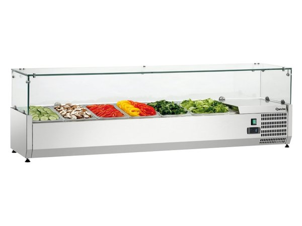 Bartscher Refrigerated Counter with Glass Top - 5x GN 1/3 + 1x 1/2 GN - 150x40x (H) 42.5 cm