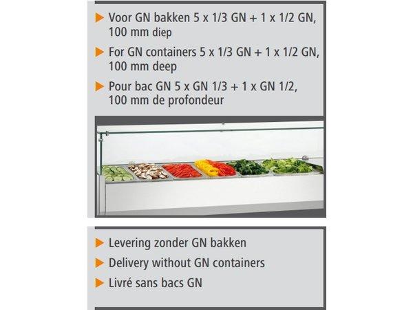 Bartscher Kühltheke mit Glasplatte - 5x GN 1/3 + 1x 1/2 GN - 150x40x (H) 42.5 cm