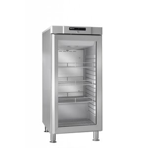 Gram Stainless steel refrigerator with glass door   COMPACT KG 310 grams RH 60HZ LM 3M   218L   595x640x1335 (h) mm