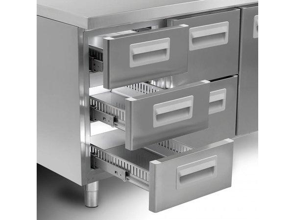 Gram Koelwerkbank RVS - 4 Deurs | Gram K2005 Snowflake | 495L | 2084X700X855(h)mm