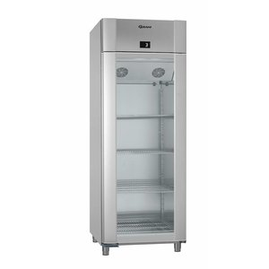 Gram Kühlschrank Vario Silber / ALU mit Glastür   Gram ECO 82 KG TWIN RAG L2 4N   614L   820x785x2125 (h) mm