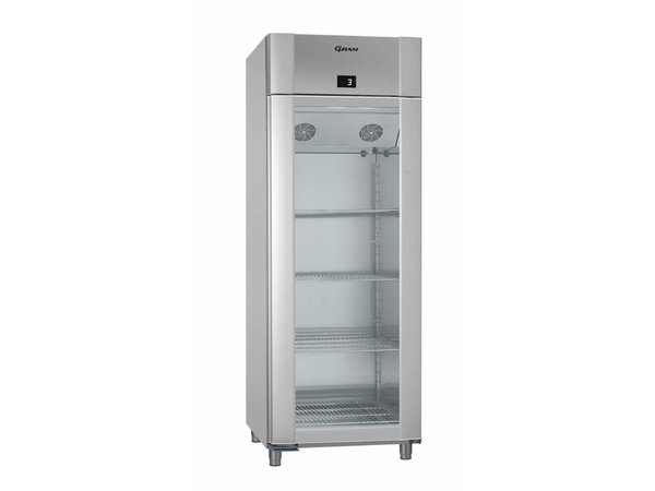 Gram Refrigerator Vario Silver / ALU with Glass Door | Gram ECO 82 KG TWIN RAG L2 4N | 614L | 820x785x2125 (h) mm