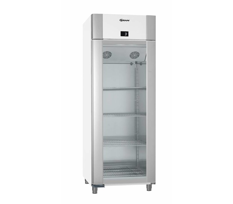 Gram Refrigerator White / ALU with Glass Door | Gram ECO TWIN KG 82 LAG L2 4N | 614L | 820x785x2125 (h) mm