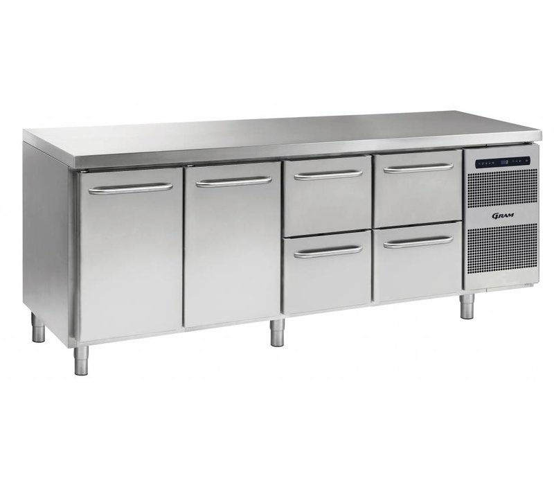 Gram Cool Workbench SS | Doors 2 + 2 + 2 Loading | GASTRO 07 grams K 2207 CSG A DL / DL / 2D / 2D L2 | 2163x700x885 / 950 (h) mm
