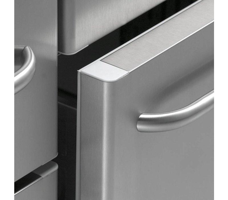 Gram Cool Workbench SS   Doors 2 + 2 + 3 Drawers   GASTRO 07 grams K 2207 CSG A DL / DL / 2D / 3D L2   2163x700x885 / 950 (h) mm