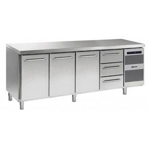 Gram Cool Workbench SS | Doors 2 + 2 + 3 Drawers | GASTRO 07 grams K 2207 CSG A DL / DL / 2D / 3D L2 | 2163x700x885 / 950 (h) mm