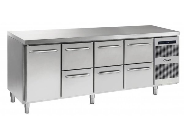 Gram Kühle Workbench SS | 1 Door + 2 + 2 + 2 Loading | GASTRO 07 Gramm K 2207 CSG A DL / 2D / 2D / 2D-L2 | 2163x700x885 / 950 (h) mm