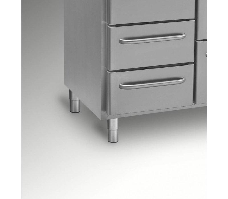 Gram Koelwerkbank RVS | 1 Deur + 2+2+3 Laden | Gram GASTRO 07 K 2207 CSG A DL/2D/2D/3D L2 | 2163x700x885/950(h)mm