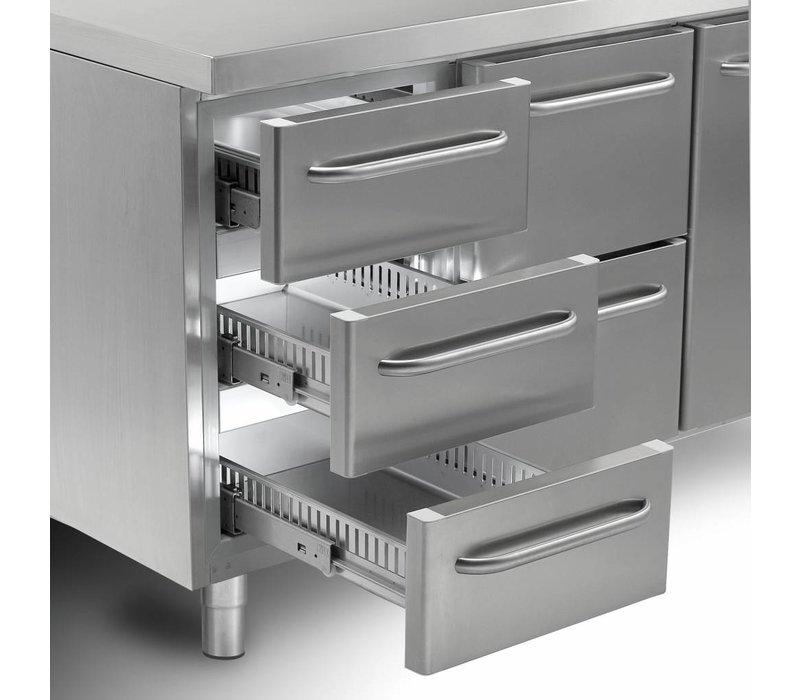 Gram Koelwerkbank RVS   1 Deur + 2+3+3 Laden   Gram GASTRO 07 K 2207 CSG A DL/2D/3D/3D L2   2163x700x885/950(h)mm