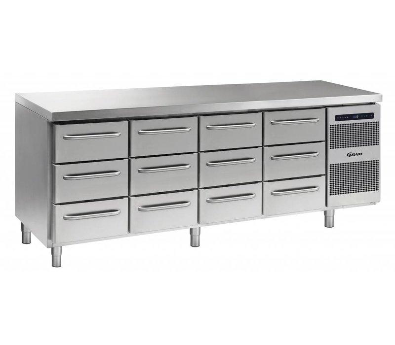 Gram Koelwerkbank RVS   4x3 Laden   Gram GASTRO 07 K 2207 CSG A 3D/3D/3D/3D L2   2163x700x885/950(h)mm