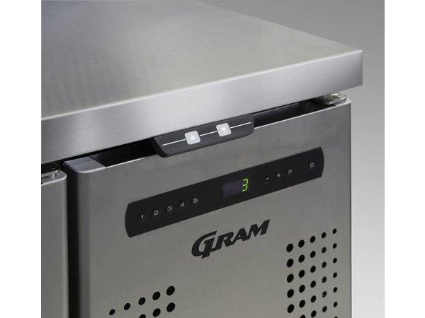 Gram Pizza Workbench SS   Türen 4 + 12 x 1/3 GN   GASTRO 07 Gramm K 2207 CSG PT DL / DL / DL / DR L2   2163x800x1131 / 1196 (h) mm