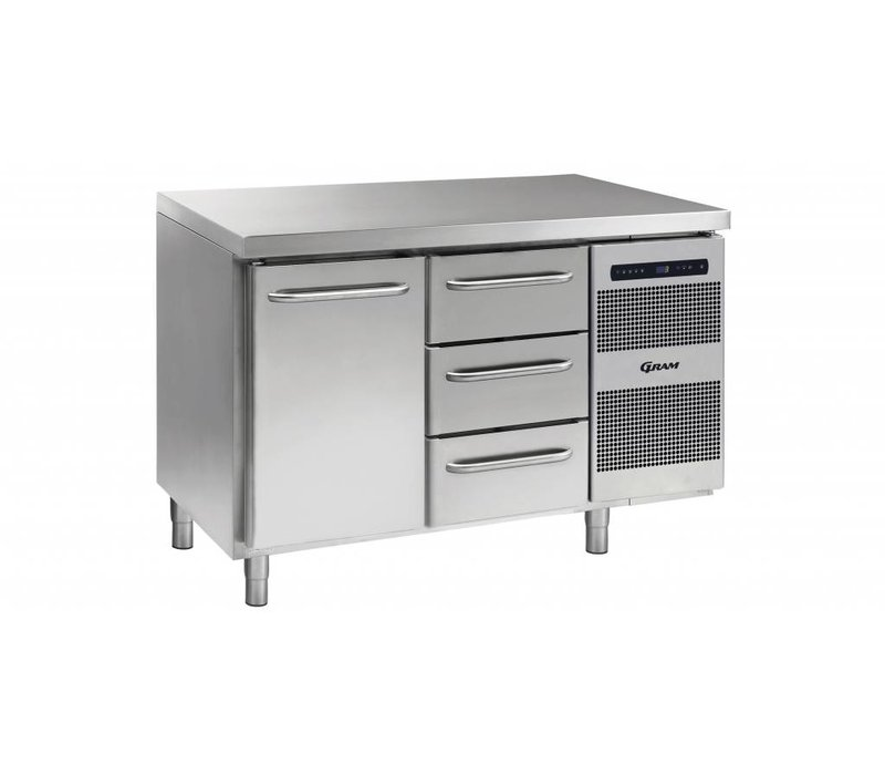Gram Cool Workbench 1 Door + 3 Drawers | GASTRO 07 grams K 1407 CSG A DL / 3D L2 | 345L | 1289x700x885 / 950 (h) mm