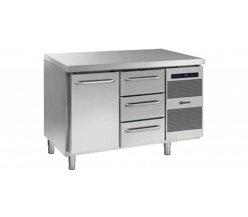 Gram Kühle Workbench 1 Door + 3 Schubladen | GASTRO 07 Gramm K 1407 CSG A DL / 3D-L2 | 345L | 1289x700x885 / 950 (h) mm