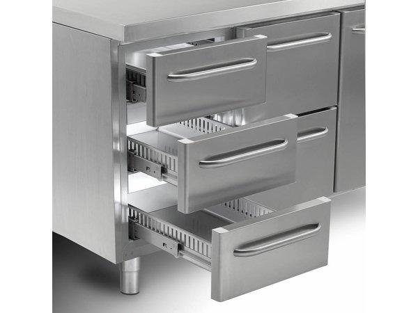 Gram Cool Workbench SS | 2 + 3 + 3 + 3 Load | GASTRO 07 grams K 2207 CSG A 2D / 3D / 3D / 3D L2 | 2163x700x885 / 950 (h) mm