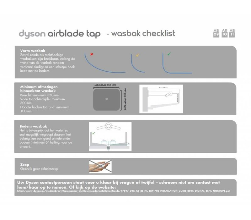 Dyson Dyson Airblade Kraan + Handdroger - Tap AB09 - Korte hals
