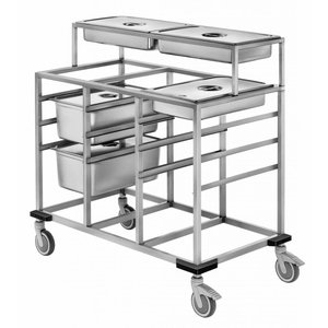 Mobile Containing Uitschepwagen 3 x 1/1 GN + Afneembare Opzet 3 x 1/1 GN | Mobile Containing | 590x730x910(h)mm