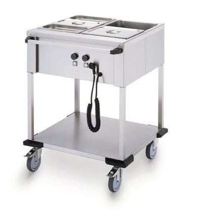 Mobile Containing Bain-Marie trolley 2 x 1/1 GN | Mobile Containing | 2x 850W | Operation Long Silk | 702x631x902mm