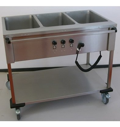Mobile Containing Bain-Marie Wagen 3 x 1/1 GN | Mobile Containing | 3x 850W | Bediening Lange Zijde | 560x1111x902mm