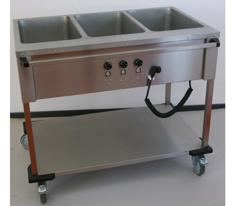Mobile Containing Bain-Marie Wagen 3 x 1/1 GN   Mobile Containing   3x 850W   Bediening Lange Zijde   560x1111x902mm