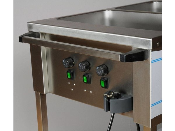 Mobile Containing Bain-Marie trolley 3 x 1/1 GN   Mobile Containing   3x 850W   560x1111x902mm