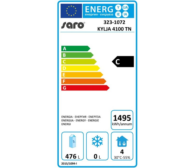 Saro Koelwerkbank - RVS - 4 deurs - 223x70x(h)89/95cm