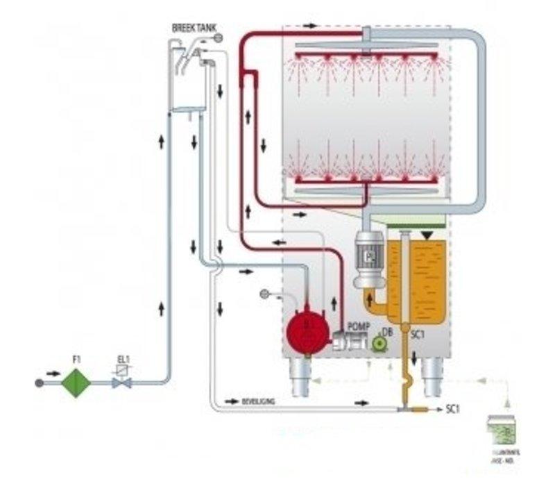 Rhima Pot-Washing 55x66cm | RHIMA DR 165th PLUS | Incl. Break Tank and Naspoeldrukverhogingingspomp
