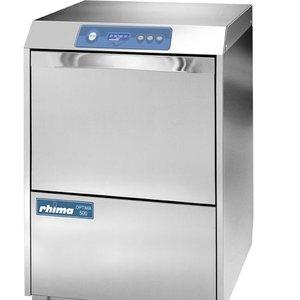 Rhima Glasswasher 50x50cm | RHIMA Optima 500 HR Plus | to 35 baskets p / h | 600x610x825mm