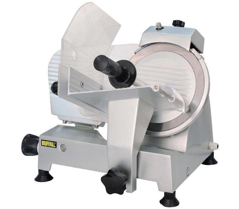 Buffalo Vleessnijmachine Aluminium | Geïntegreerde Messenslijper | 22cm Mes