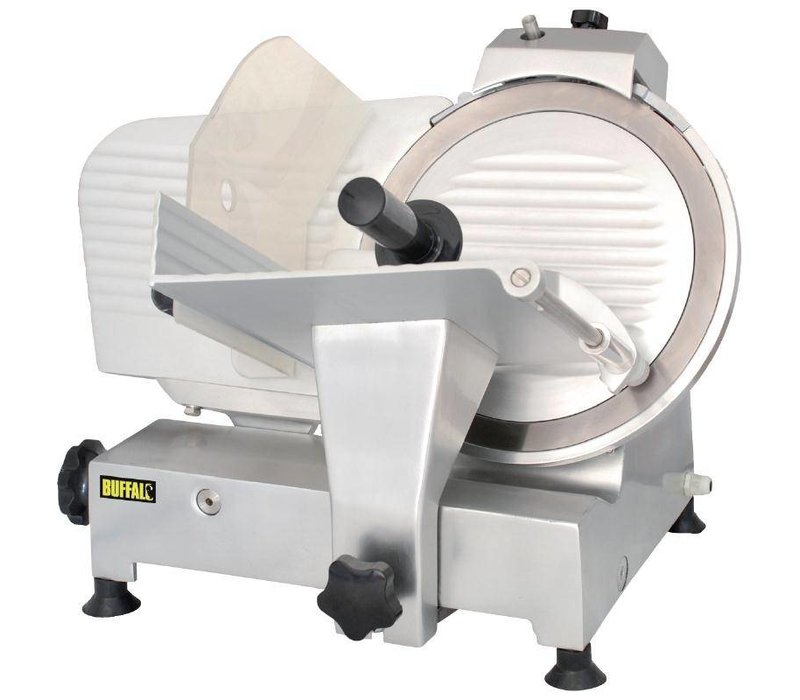 Buffalo Fleischschneidemaschine Aluminium | Integrierte Messerschärfer | 30cm Messer