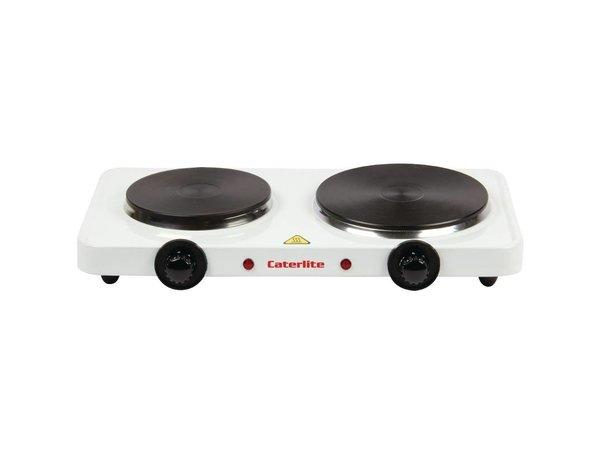 Caterlite Kookplaat Dubbel | 2,5kW | Wit Stalen Behuizing