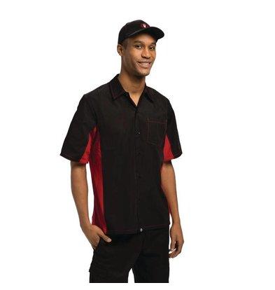 XXLselect Contrast Shirt Zwart/Rood   Chef Works   Cool Vent   Beschikbaar in 4 Maten
