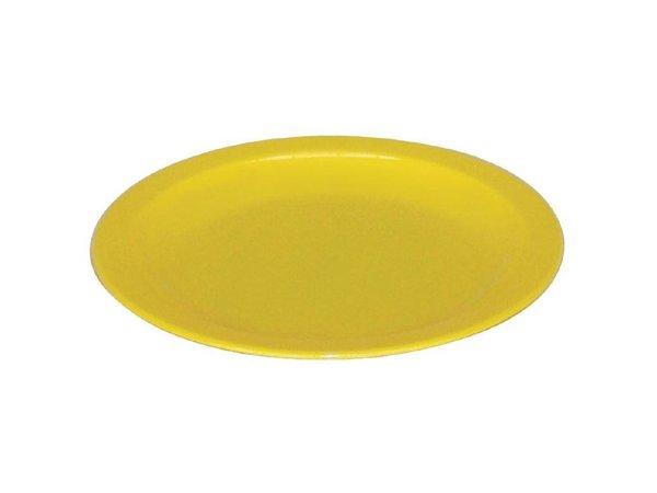 XXLselect Bord Geel | Polycarbonaat | Ø230mm | Per 12 Stuks