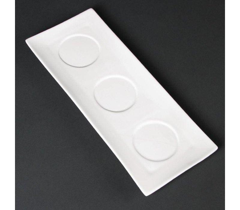 XXLselect 3-Delen-Schaal | Lumina Wit Porselein | 305x120mm | 6 Stuks