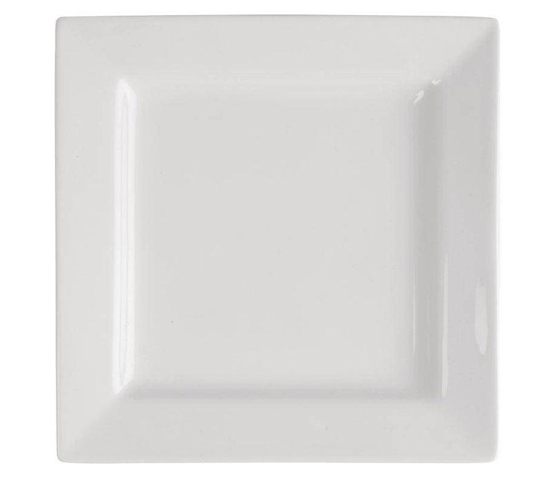 XXLselect Vierkant Bord | Lumina Wit Porselein | 230mm | 4 Stuks