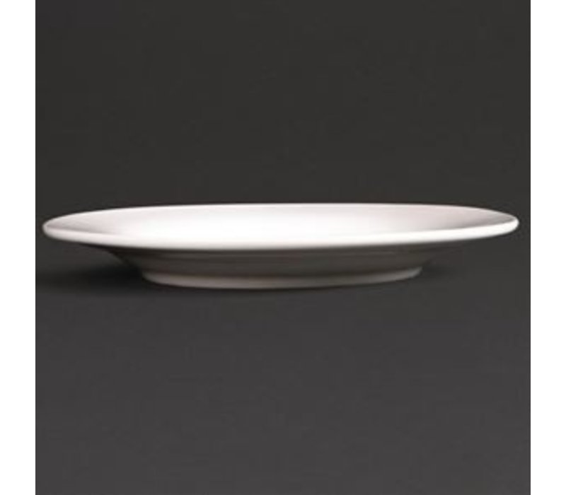 XXLselect Bord Brede Rand | Lumina Wit Porselein | Ø200mm | 6 Stuks