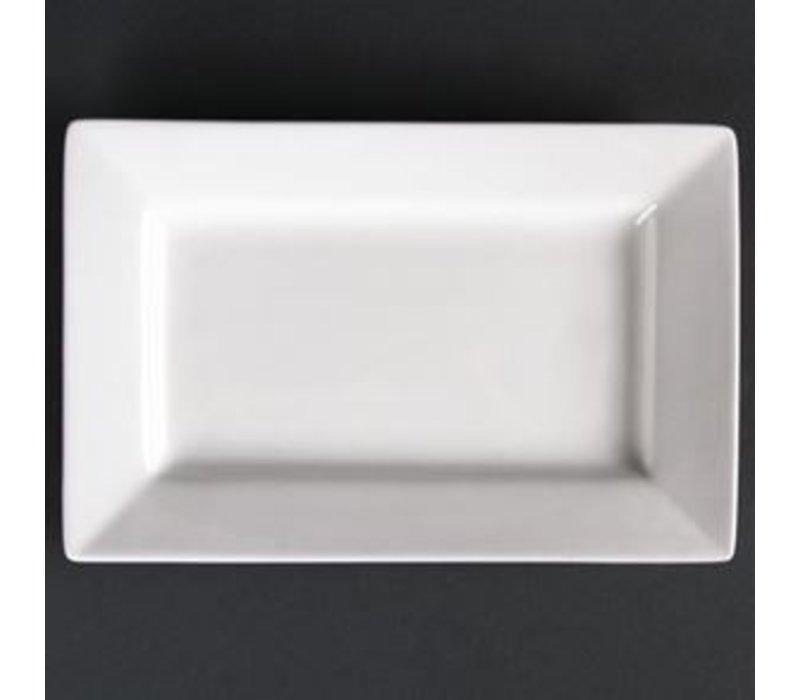 XXLselect Bord Brede Rand | Lumina Wit Porselein | 250x150mm | 4 Stuks